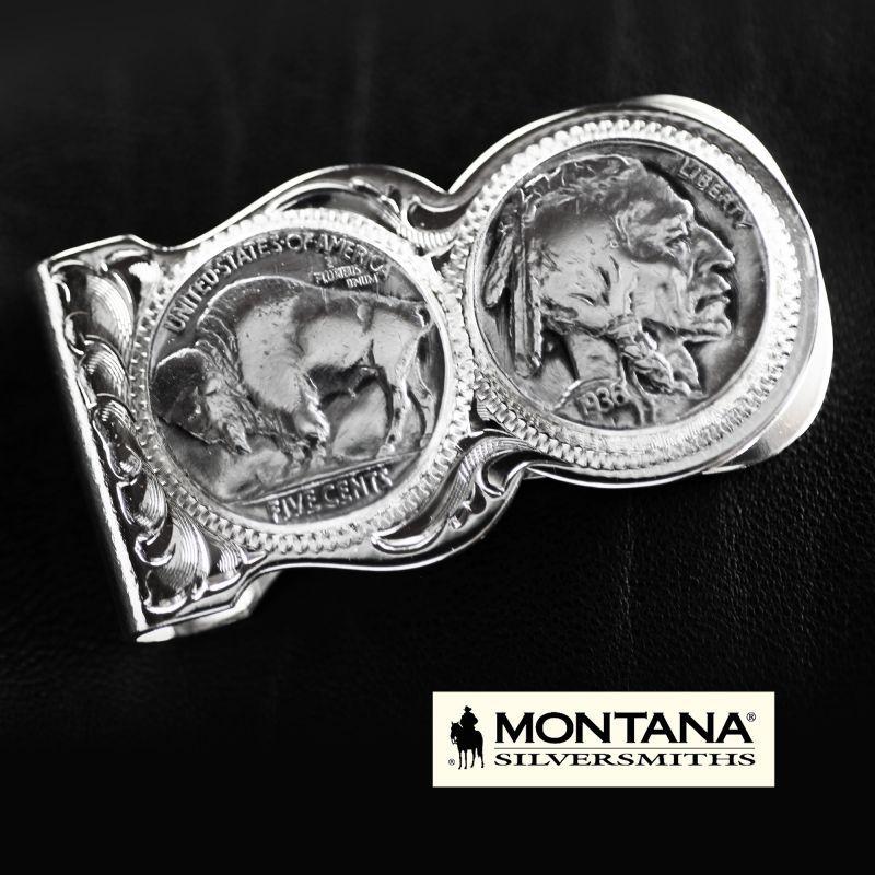画像1: モンタナシルバースミス マネークリップ バッファロー&インディアン/Montana Silversmiths Buffalo Indian Nickel Scalloped Money Clip (1)