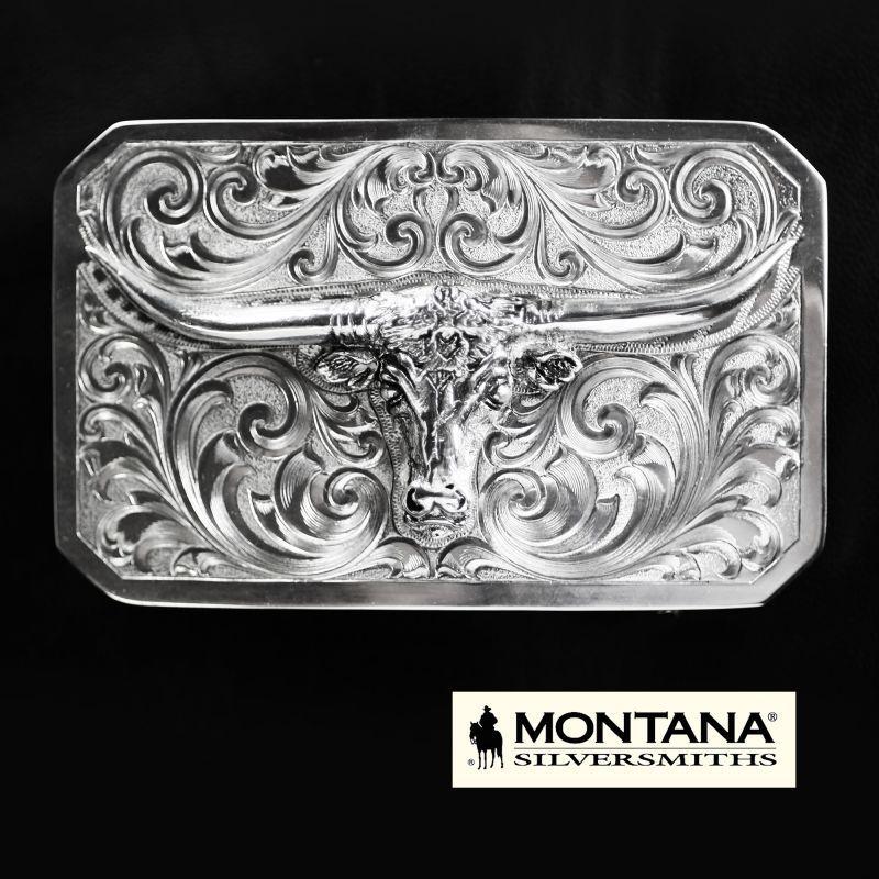 画像1: モンタナシルバースミス ロングホーン ウエスタン ベルト バックル/Montana Silversmiths Longhorn Western Belt Buckle