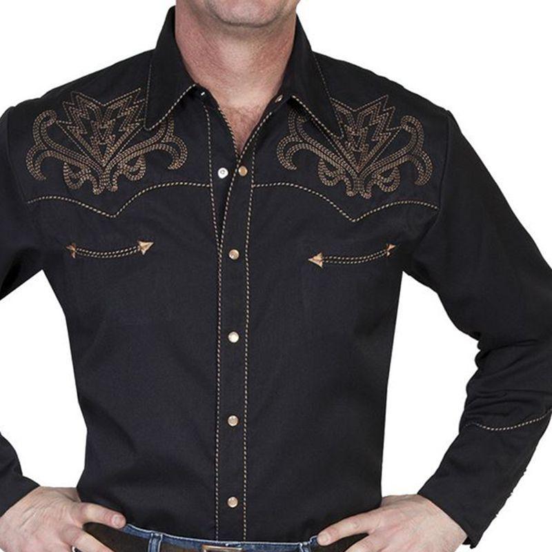 画像1: スカリー ウエスタン刺繍シャツ アローブーツステッチ(長袖/ブラック)/Scully Long Sleeve Embroidered Western Shirt(Men's) (1)