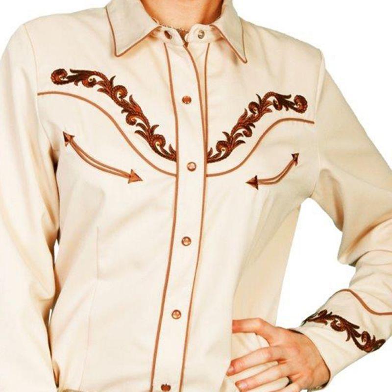 画像1: スカリー 刺繍・ラインストーン ウエスタン シャツ(長袖/クリーム・ゴールド)/Scully Long Sleeve Western Shirt(Women's)