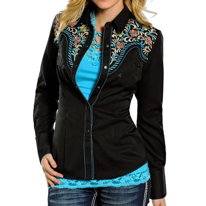 画像1: パンハンドルスリム 刺繍 ウエスタンシャツ フローラル ブラック・ターコイズ(長袖/レディース)S/Panhandle Slim Long Sleeve Western Shirt(Women's)