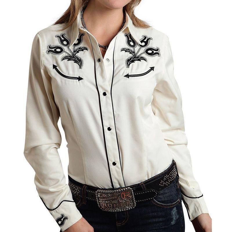 画像1: ローパー 刺繍 ウエスタンシャツ ホワイト(長袖/レディース)/Roper Long Sleeve Western Shirt(Women's) (1)
