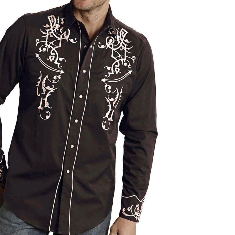 画像1: ウエスタン 刺繍 シャツ(長袖/ブラック・パール)/Long Sleeve Embroidered Western Shirt