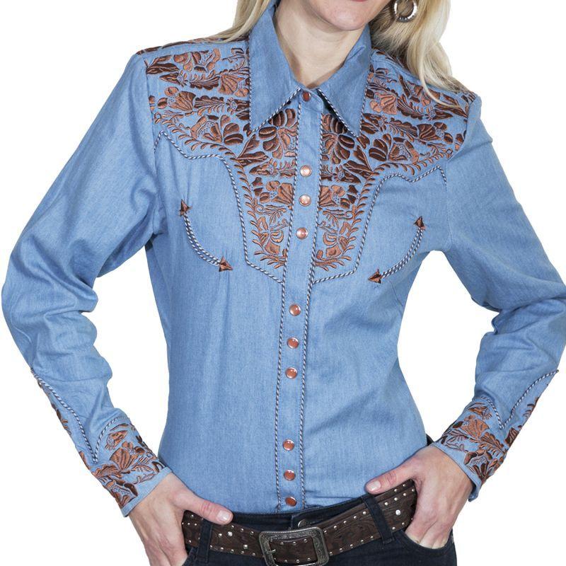 画像1: スカリー 刺繍 ウエスタン シャツ(長袖/ライトブルー)/Scully Long Sleeve Western Shirt(Women's)