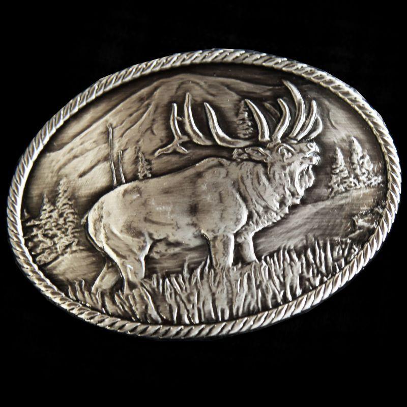 画像1: モンタナシルバースミス アウトドア ベルト バックル ワイルド エルク/Montana Silversmiths Wild Elk Carved Belt Buckle