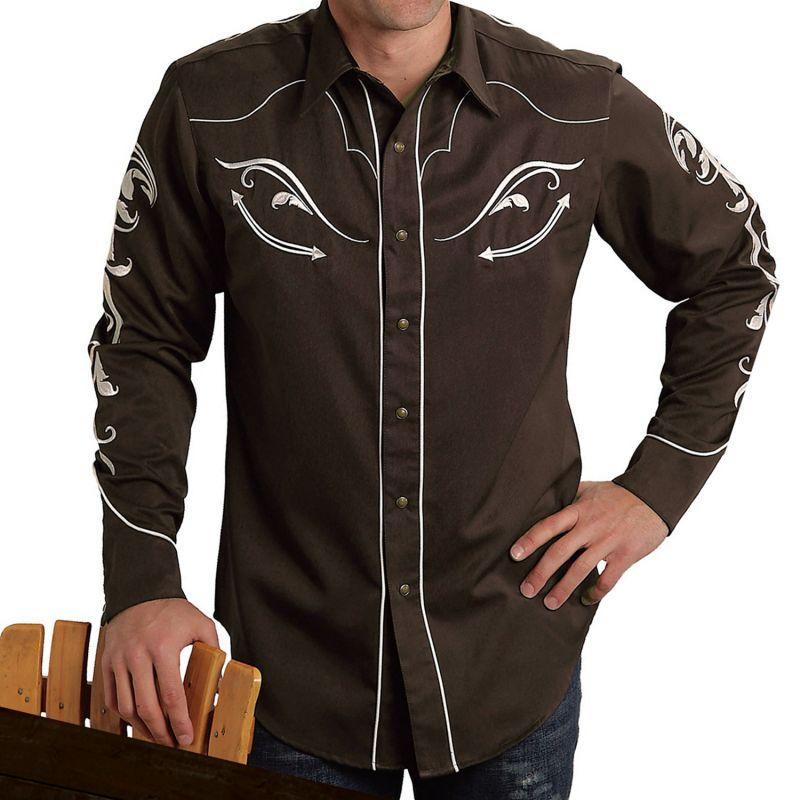 画像1: ウエスタン 刺繍 シャツ(長袖/ブラウン)/Long Sleeve Embroidered Western Shirt (1)
