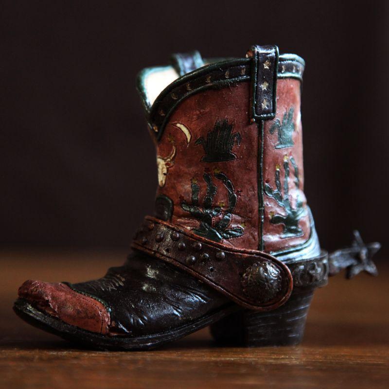 画像1: ウエスタンブーツ型 ペンホルダー(ダークブラウン・カクタス)/Western Boot Pen Holder (1)