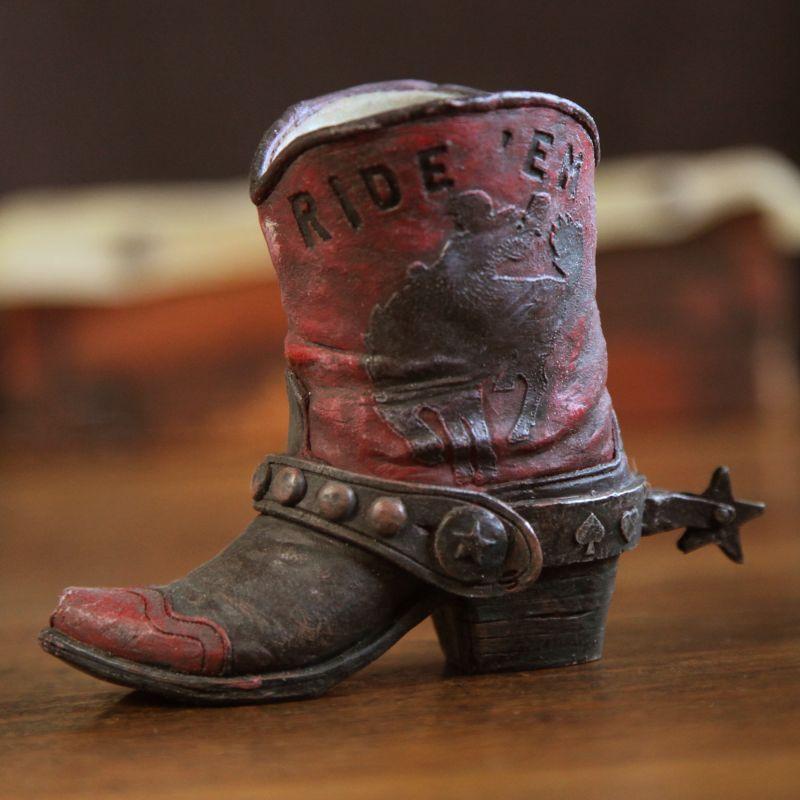 画像1: ウエスタンブーツ型 ペンホルダー(ダークレッド)/Western Boot Pen Holder