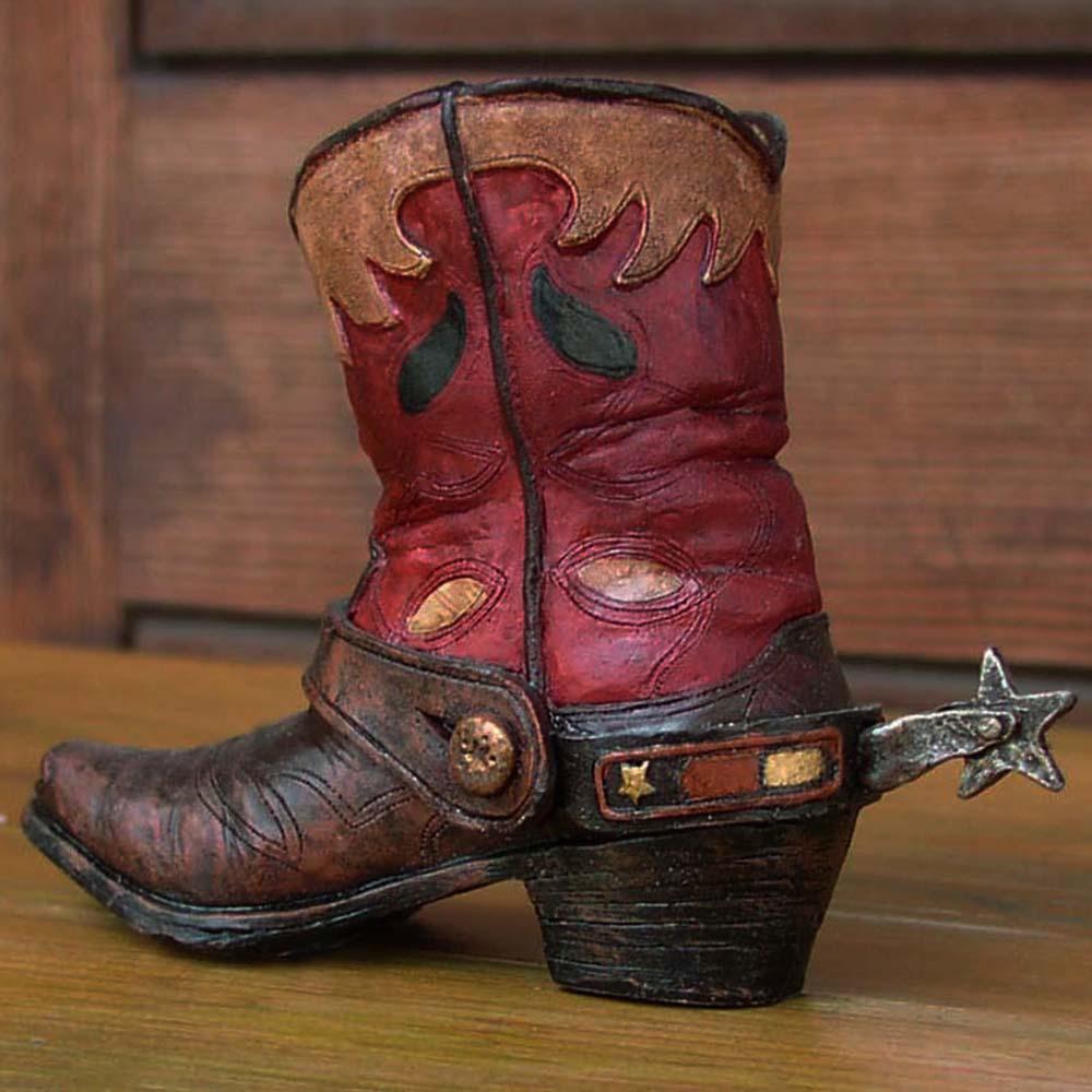 画像1: ウエスタンブーツ型 ペンホルダー(レッド)/Western Boot Pen Holder