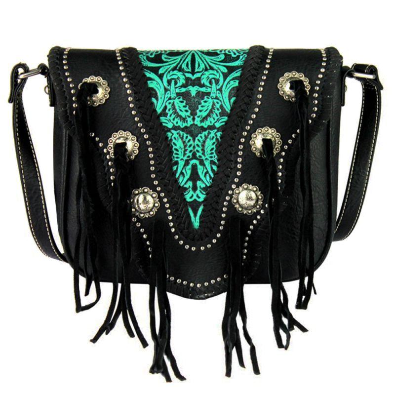画像1: ベリーコンチョ&スタッズ ウエスタン ショルダーバッグ(ブラック)/Western Handbag(Black) (1)