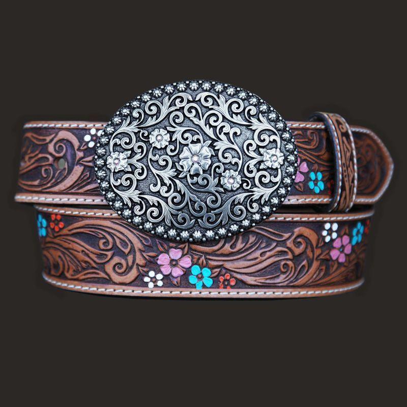 画像1: ジャスティン フローラル レザーベルト(ブラウン)/Justin Floral Leather Belt