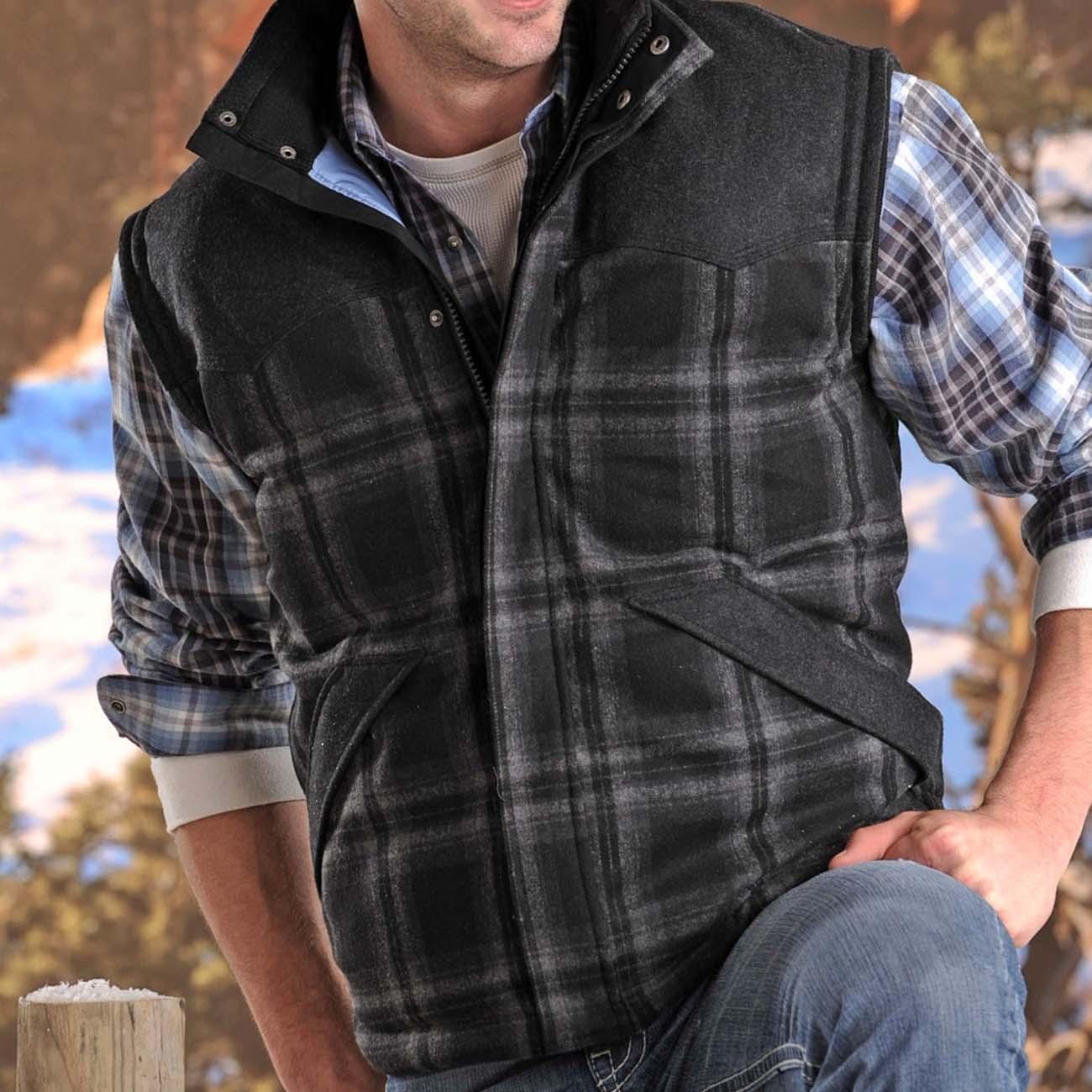 画像1: パウダーリバー ウール ウエスタン ベスト(ブラック)XS/Powder River Wool Vest (1)