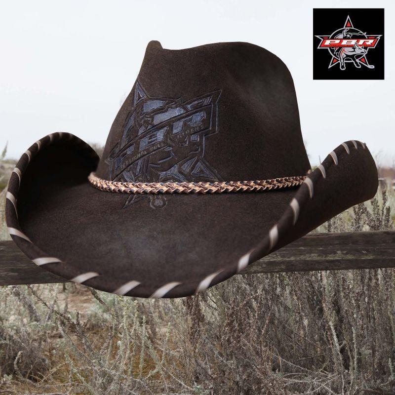 画像1: PBR プロフェッショナル ブルライダース ウール カウボーイ ハット(ブラウン)/PBR Cowboy Hat(Brown) (1)