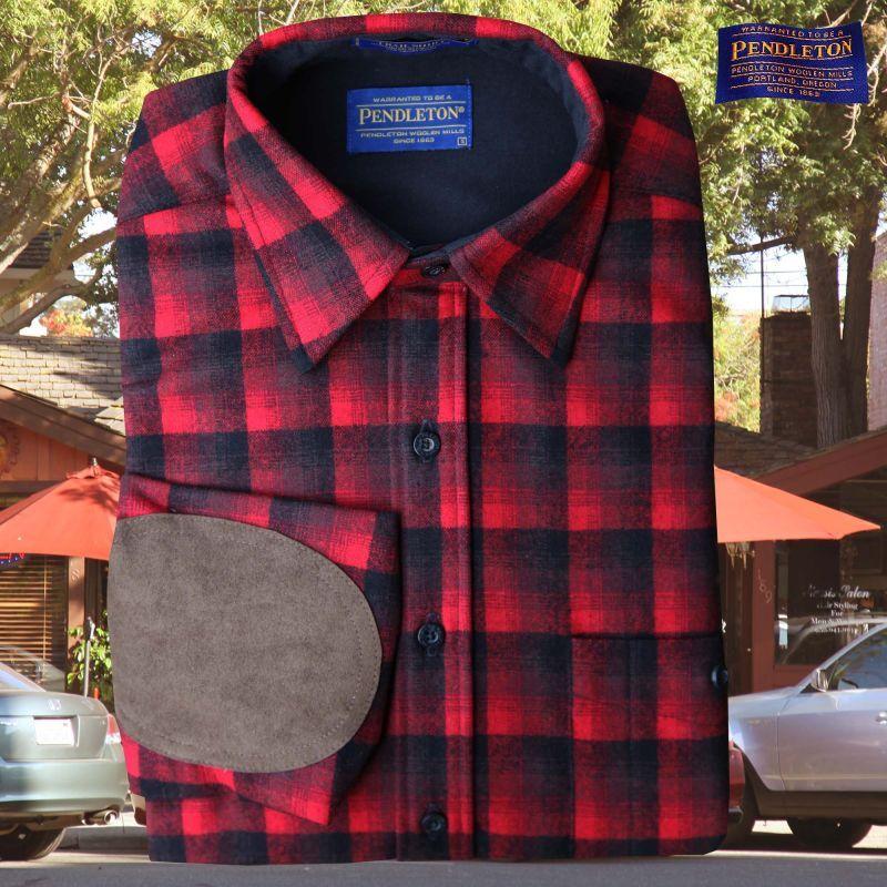 画像1: ペンドルトン ウール シャツ・エルボーパッチ トレイルシャツ レッド ・ブラック オンブレ/Pendleton Trail Shirt (Red Black Ombre) (1)