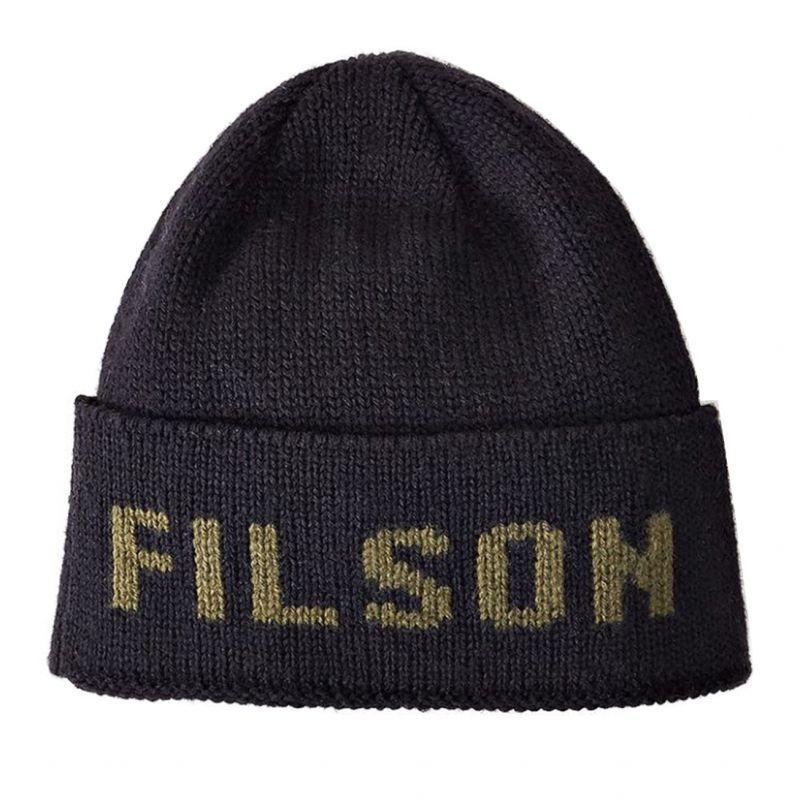 画像1: フィルソン バージンウール ニット キャップ(ブラック・オッターグリーン)/Filson Knit Cap