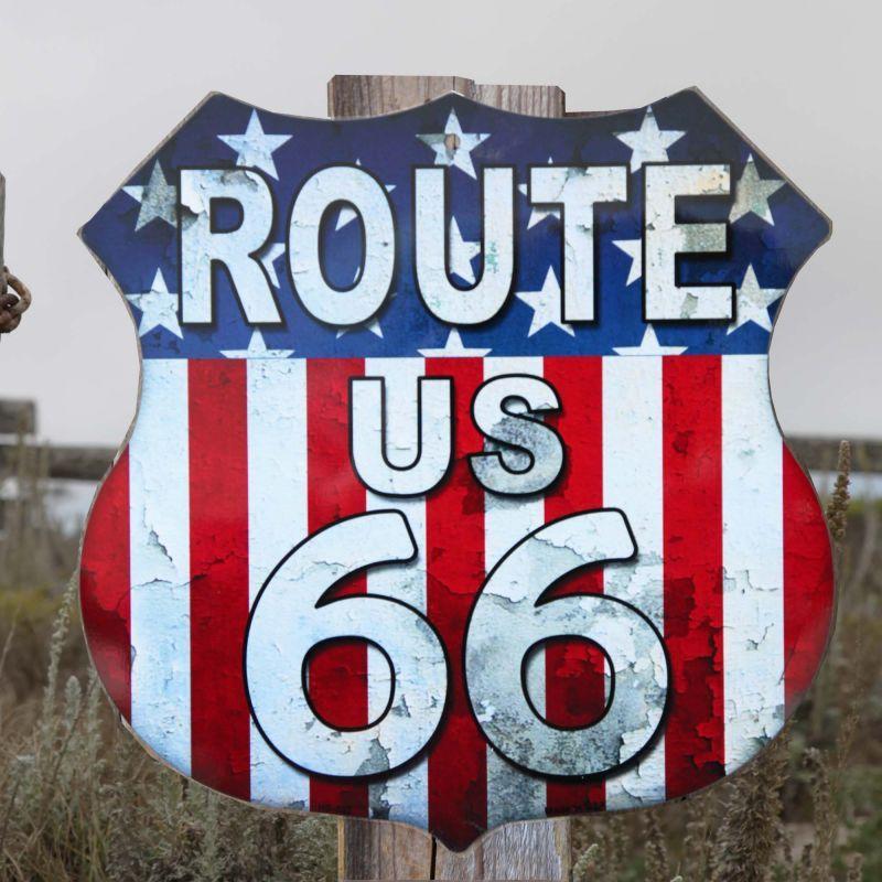 画像1: ルート66 アメリカンフラッグ メタルサイン/Metal Sign Route 66 (1)