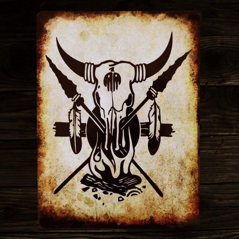 画像1: スカル メタルサイン/Metal Sign Skull (1)