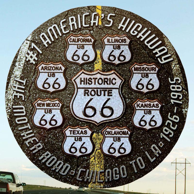 画像1: ルート66 8州 ブラックトップ メタルサイン/Metal Sign Route 66 (1)