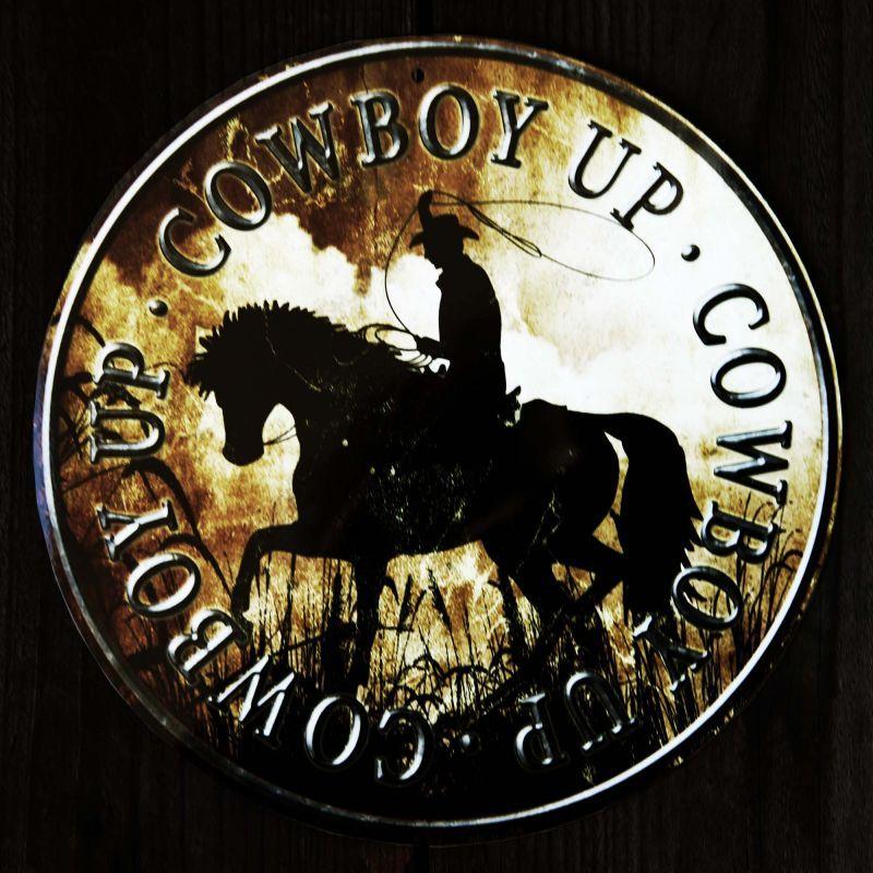 画像1: カウボーイ アップ メタルサイン/Metal Sign Cowboy Up (1)