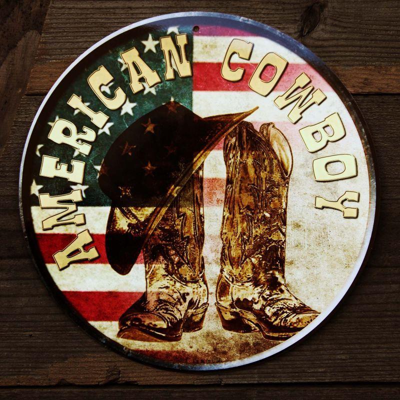 画像1: アメリカン カウボーイ ハット・ブーツ メタルサイン/Metal Sign American Cowboy (1)