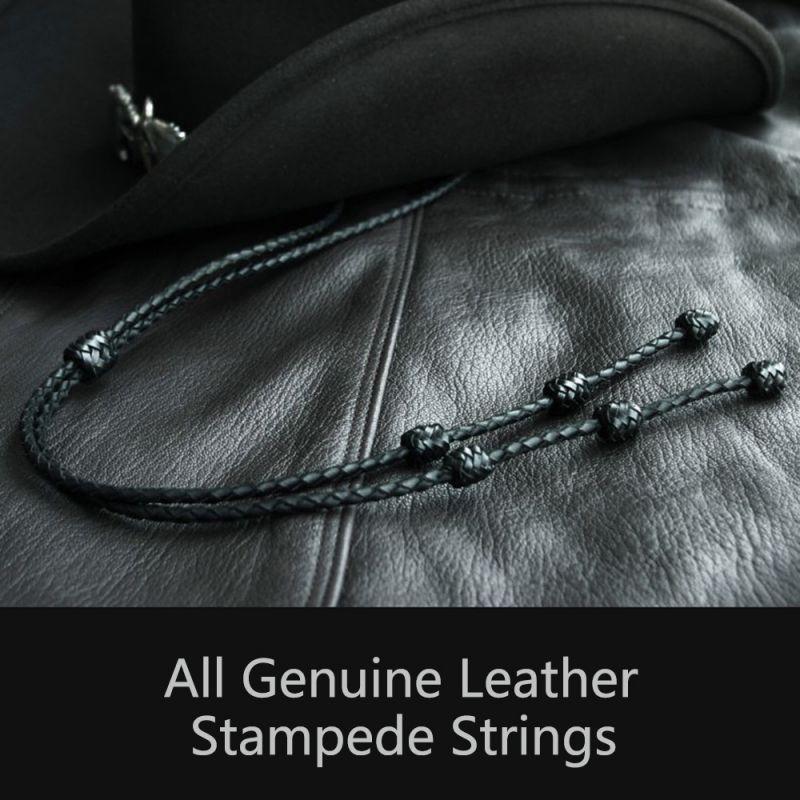 画像1: レザー スタンピード ストリングス ブラック(ハット用あごひも)/Leather Stampede Strings (1)