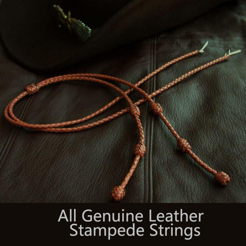 画像1: レザー スタンピード ストリングス ブラウン(ハット用あごひも)/Leather Stampede Strings