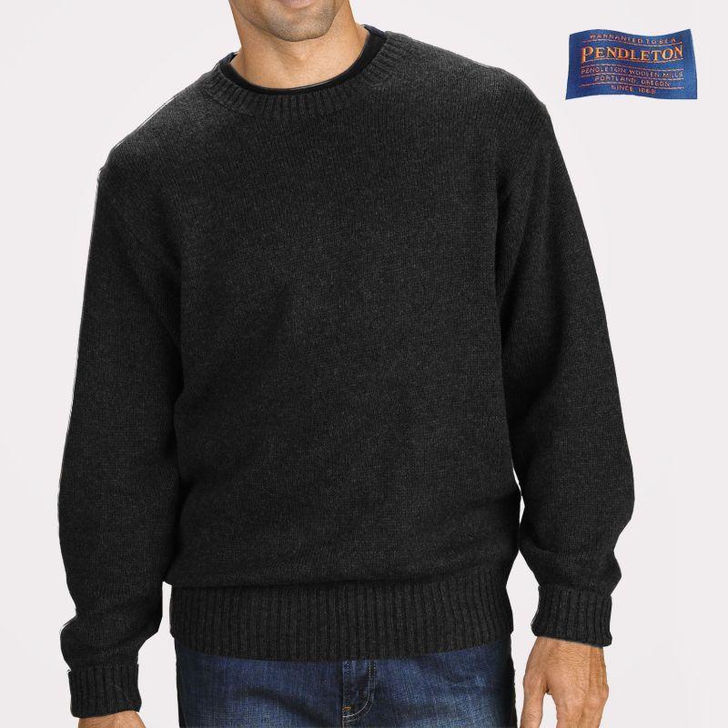 画像1: ペンドルトン シェトランド ウール セーター(ブラック ヘザー)/Pendleton Shetland Wool Sweater Black Heather (1)