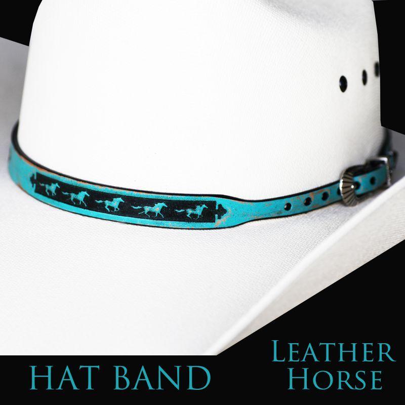 画像1: ホース レザー ハット バンド(ターコイズ)/Leather Hat Band(Horse Turquoise) (1)