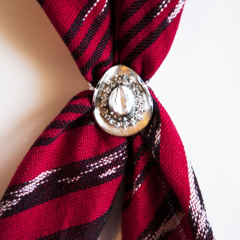 画像1: スカーフ スライド スカーフ留め ネックスカーフ用(カウボーイハット・シルバー)/Scarf Slide