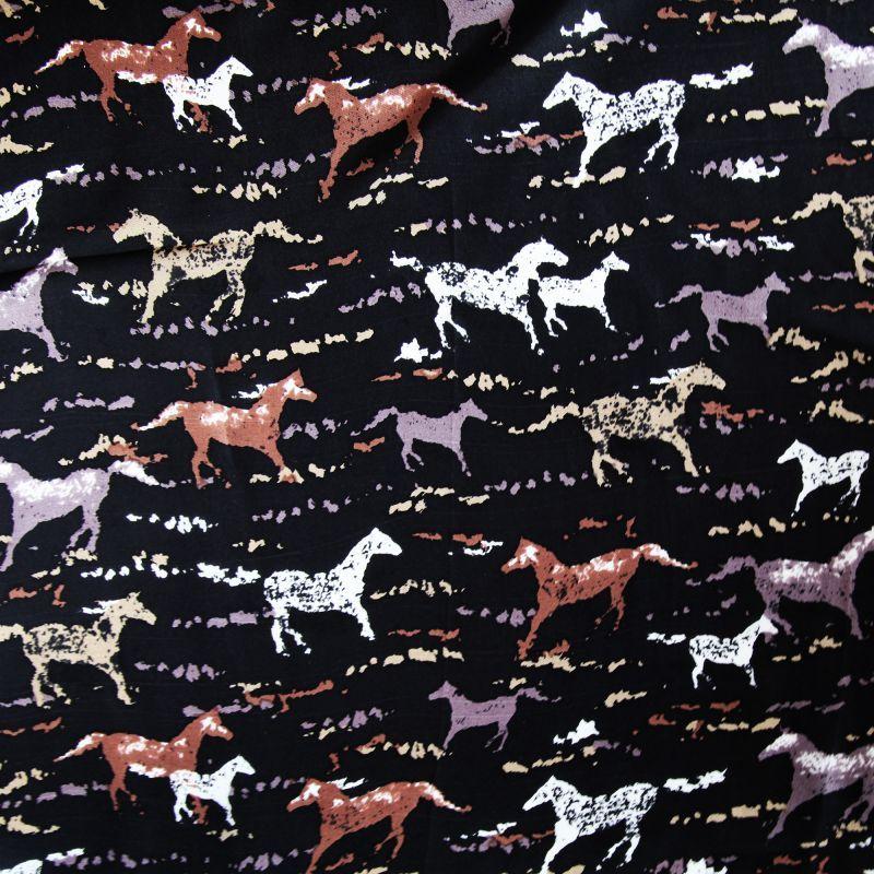 画像1: シルク ワイルドラグ(カウボーイ大判スカーフ)ホース/100% Silk Wild Rags