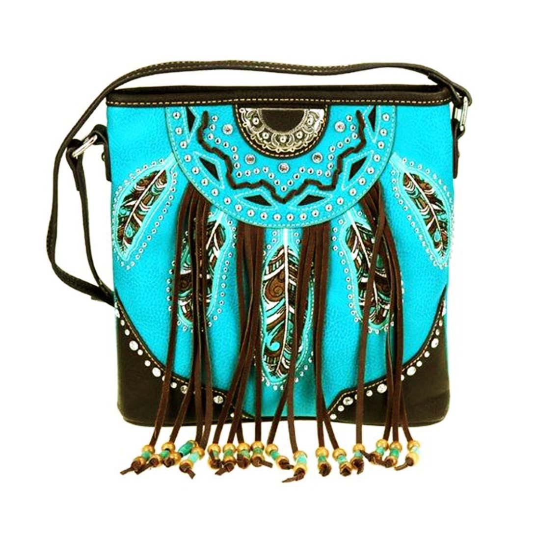 画像1: 刺繍フェザー&フリンジ サウスウエスト ショルダーバッグ(ターコイズ・ブラウン)/Bag