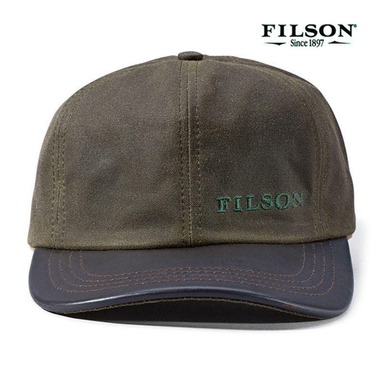 画像1: フィルソン ティンクロス レザー キャップ(オッターグリーン)/Filson Tin Cloth Leather Cap(Otter Green) (1)
