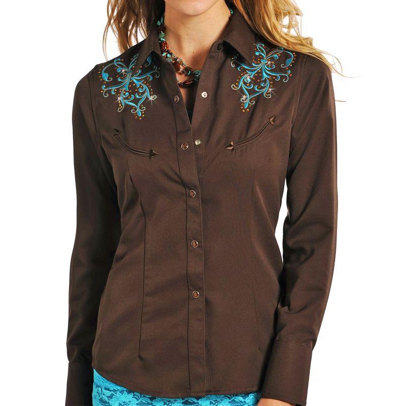 画像1: パンハンドルスリム 刺繍&ラインストーン ウエスタンシャツ ブラウン・ターコイズ(長袖/レディース)/Panhandle Slim Long Sleeve Western Shirt(Women's)
