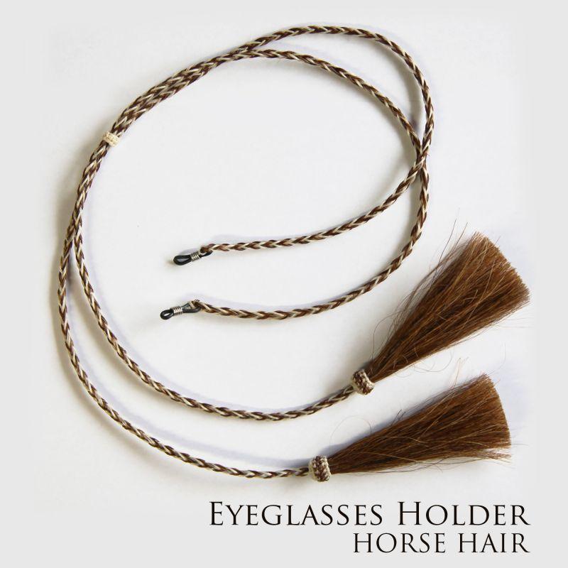 画像1: メガネ用ストラップ ホースヘアー タッセル付(ブラウン・ナチュラル)/Eyeglasses Holder w/Tassels Horse Hair