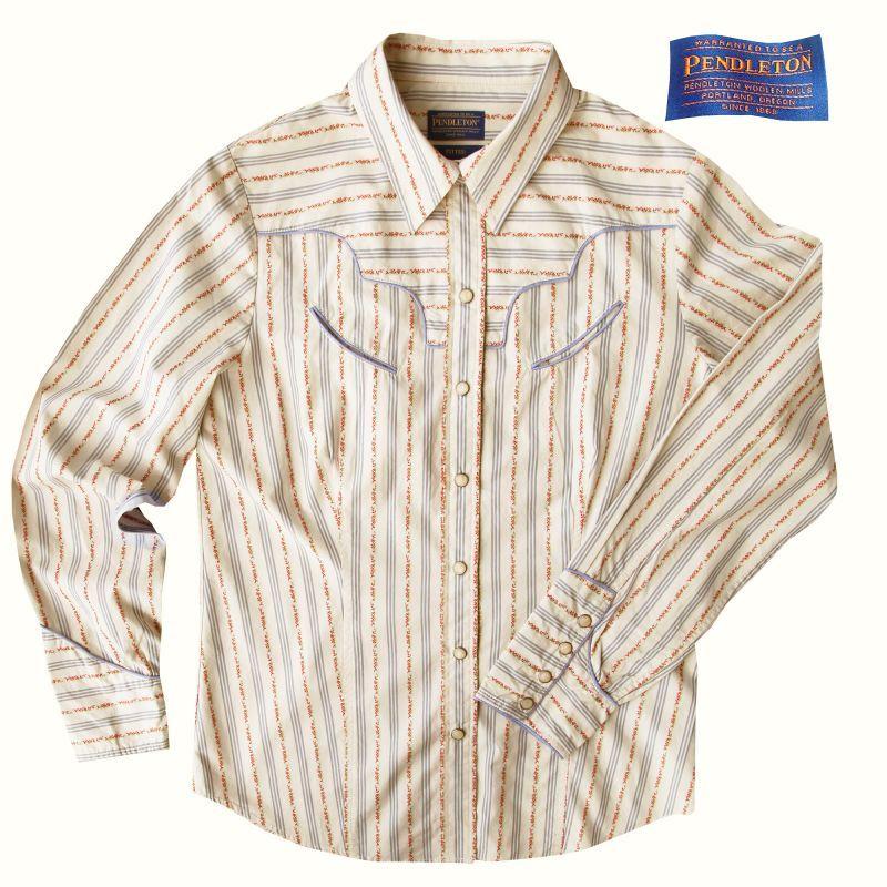 画像1: ペンドルトン ウエスタン シャツ(長袖・クリーム)S/Pendleton Long Sleeve Western Shirt(Women's) (1)