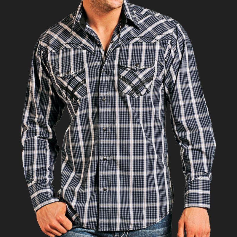 画像1: パンハンドルスリム ウエスタン シャツ(ブルー・ブラック)/Panhandle Slim Western Shirt