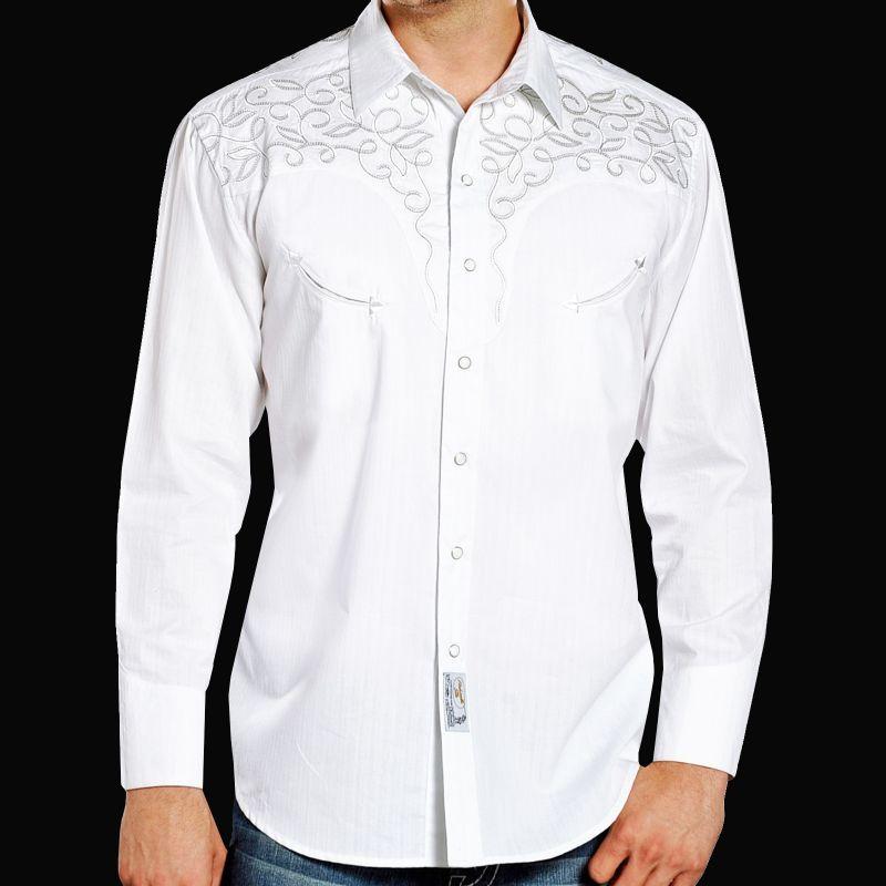 画像1: パンハンドルスリム 刺繍 ヨーク ウエスタン シャツ(長袖・ホワイト)/Panhandle Slim Long Sleeve Western Shirt