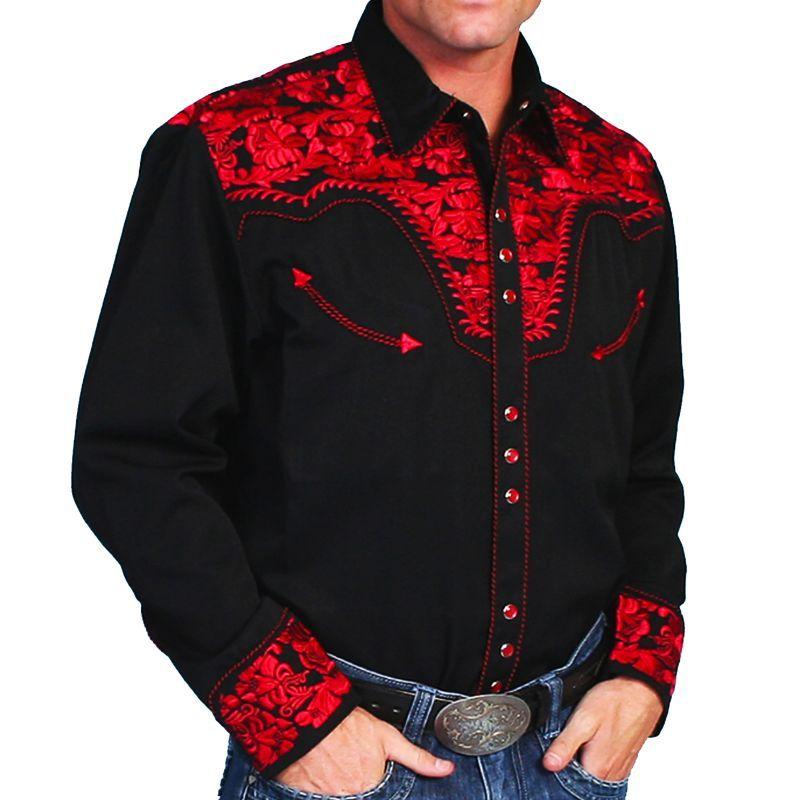 画像1: スカリー ウエスタン 刺繍シャツ(長袖/ブラック・クリムゾン)/Scully Long Sleeve Embroidered Western Shirt(Men's) (1)