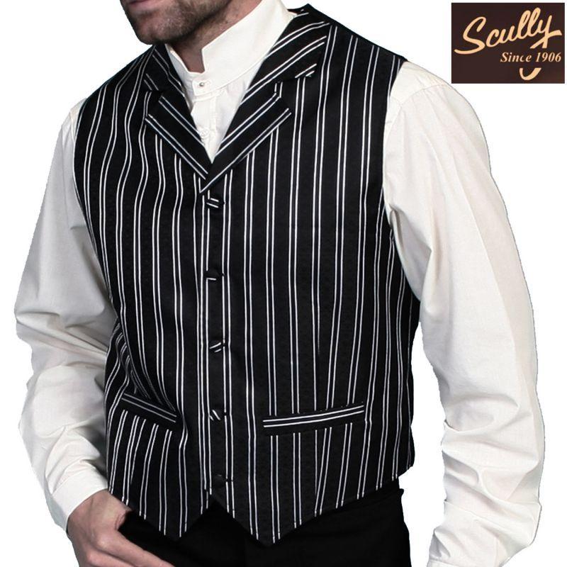 画像1: スカリー オールドウエスト ベスト(ブラック ストライプ)/Scully Old West Vest (Black Stripe) (1)