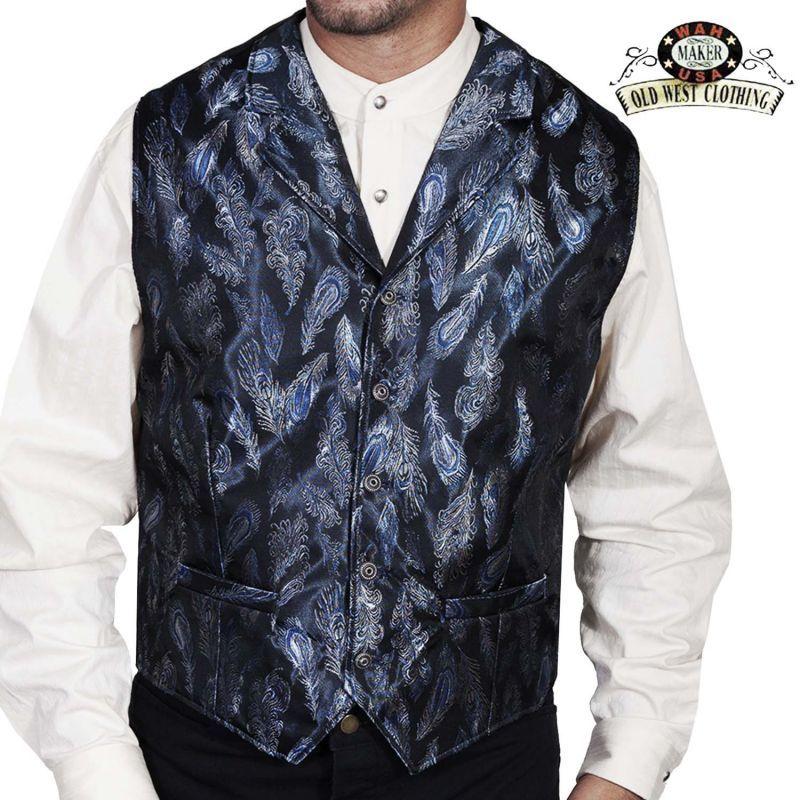 画像1: ワーメーカー オールドウエスト ベスト(ブルー ペイズリーフェザー)/Wah Maker Old West Vest (Blue Paisley Feather)