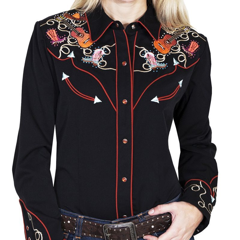 画像1: スカリー 刺繍 ラインスト-ン ウエスタン シャツ(長袖/ブラック ブーツ・ギター・ハット)/Scully Long Sleeve Western Shirt(Women's) (1)