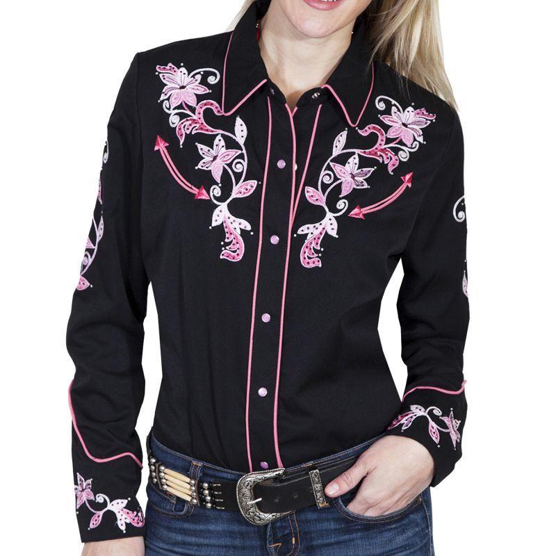画像1: スカリー ピンクフローラル 刺繍 ウエスタン シャツ(長袖/ブラック)/Scully Long Sleeve Western Shirt(Women's) (1)