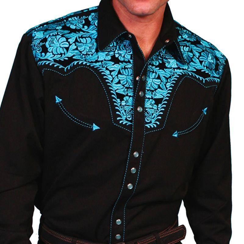 画像1: スカリー ウエスタン 刺繍 シャツ(長袖/ブラック・ターコイズ)/Scully Long Sleeve Embroidered Western Shirt(Men's)