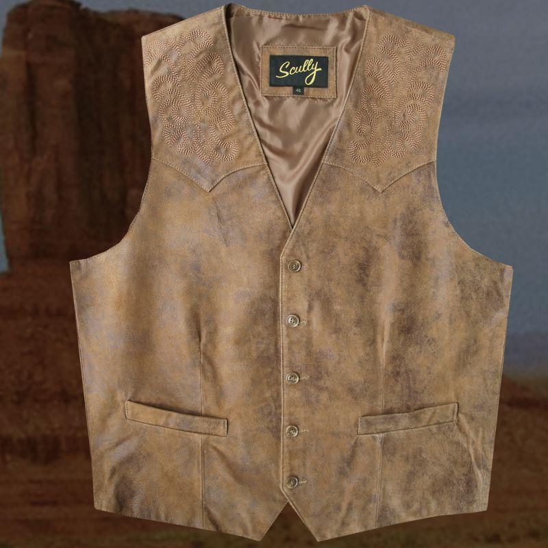 画像1: スカリー ウエスタン レザー ベスト(ブラウン)ラージサイズ42・46/Scully Leather Vest (1)