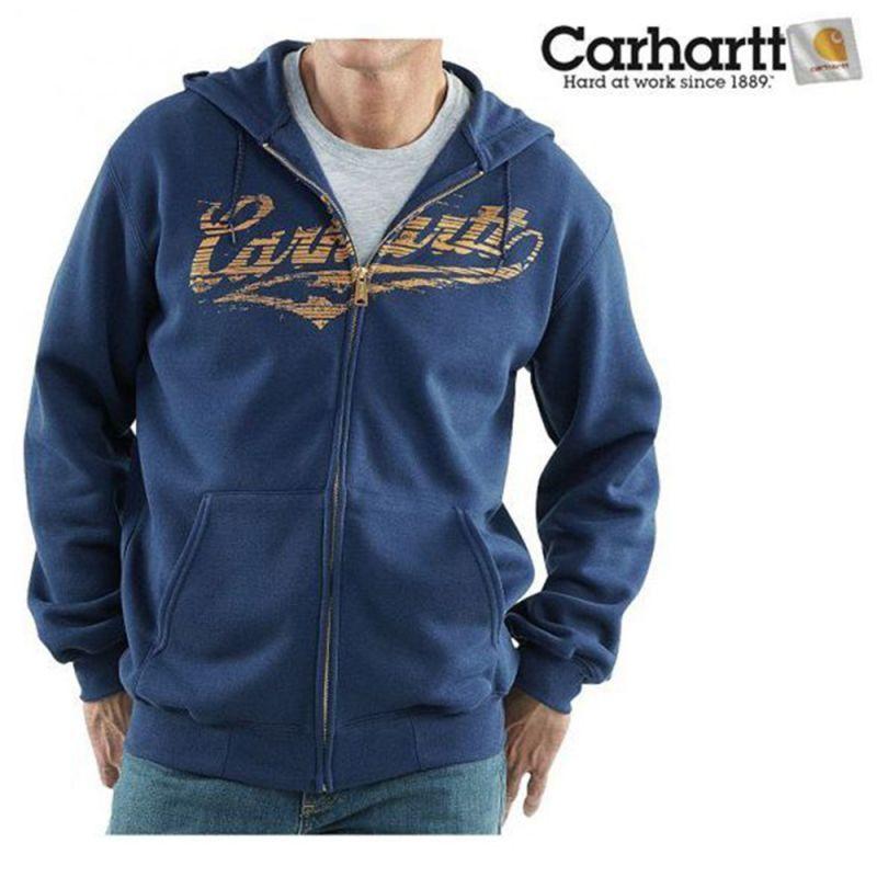 画像1: カーハート Carhartt ロゴ スエットパーカ(ネイビー)M/Carhartt Hooded Sweatshirt (1)