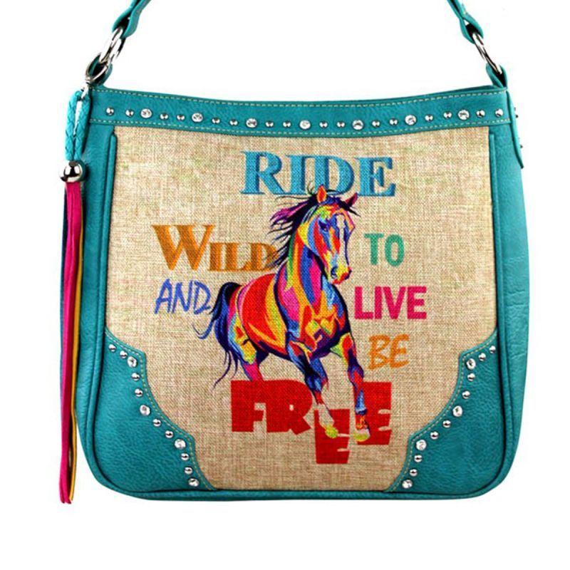 画像1: ホース ラインストーン&スタッズ カウガール ハンドバッグ(ターコイズ)/Handbag(Horse Print)