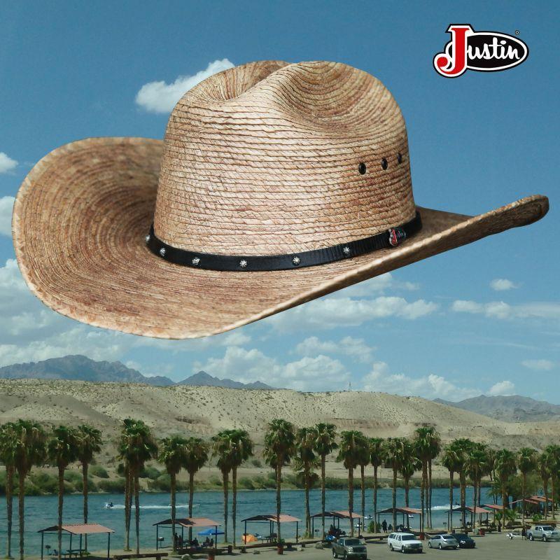 画像1: ジャスティン パームストロー カウボーイハット(ナチュラル)/Justin Western Straw Hat