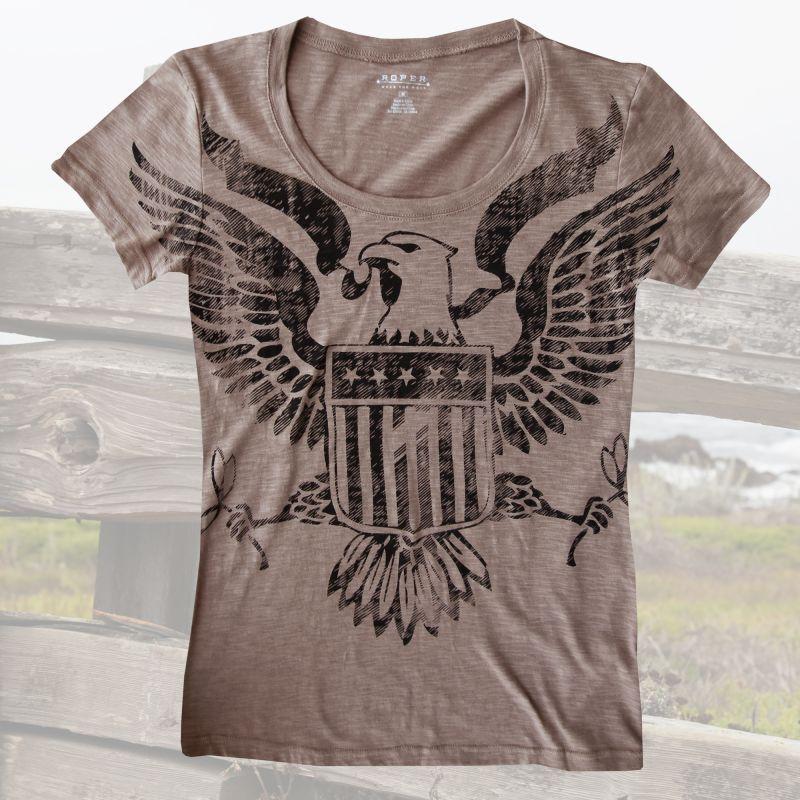 画像1: レディース ウエスタン Tシャツ アメリカンイーグル ブラウン(半袖)/Women's Western T-shirt