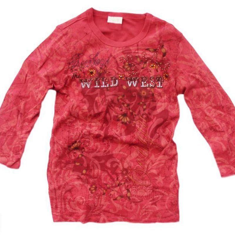 画像1: レディース ウエスタン Tシャツ カウガール/Women's Western T-shirt(Wine) (1)