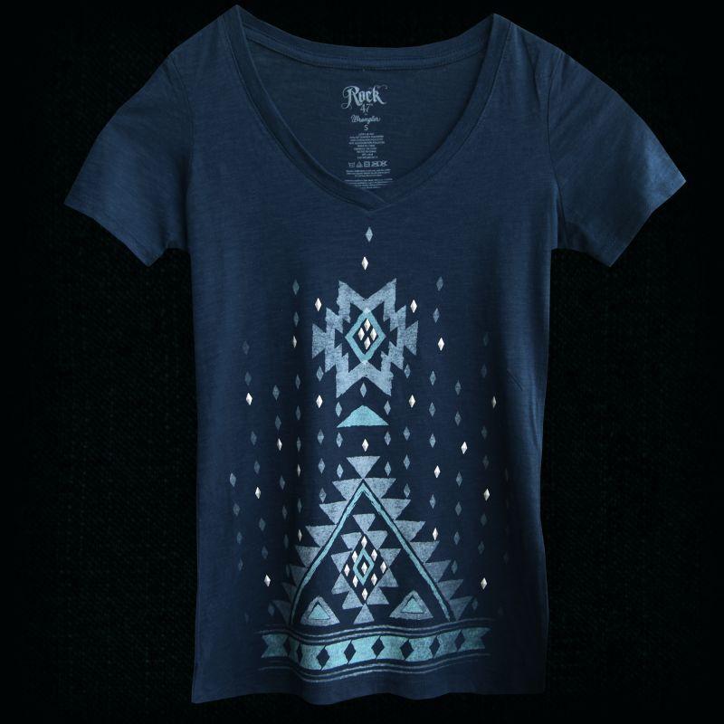 画像1: レディース ウエスタン Tシャツ アズテック ネイビー(半袖)S/Women's Western T-shirt (1)